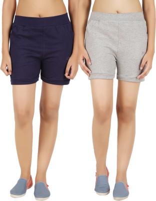 NOTYETbyus Solid Women's Grey, Dark Blue Sports Shorts