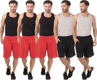 Meebaw Self Design Men,s Red, Red, Red, Black, Black Sports Shorts