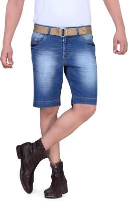 King & I Solid Men's Light Blue Denim Shorts
