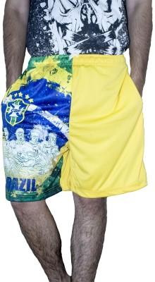 Khaiber Graphic Print Men's Yellow, Blue Gym Shorts, Beach Shorts, Sports Shorts