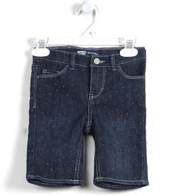 Levi's Printed Girl's Denim Dark Blue Denim Shorts