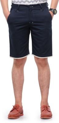 Haute Couture Solid Men,s Dark Blue Chino Shorts