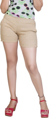 Ruok Embroidered Women's Beige Hotpants