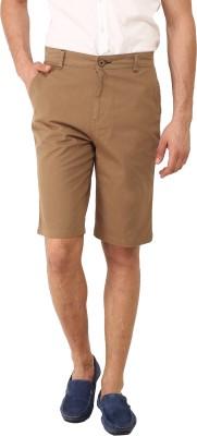 I-Voc Solid Men's Brown Chino Shorts