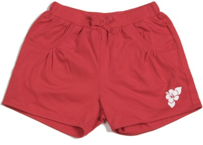 Palm Tree Solid Girl's Red Hotpants