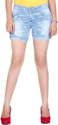 F Fashion Stylus Printed Women's Light Blue Denim Shorts