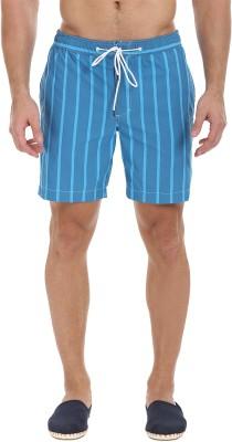 Zobello Striped Mens Blue Swim Shorts