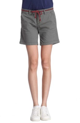 Only Solid Women's Grey Chino Shorts at flipkart