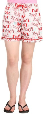 Lenora Printed Women's White, Red Boxer Shorts