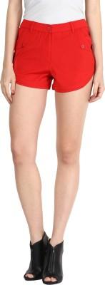 Athena Solid Women's Red Basic Shorts at flipkart