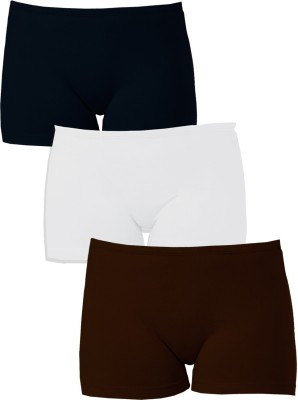 Softrose Solid Women's Black, Brown, White Sports Shorts