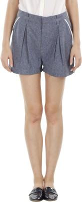 Fuziv Solid Women's Blue Culotte Shorts