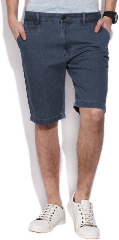 Indian Terrain Self Design Men's Blue Bermuda Shorts