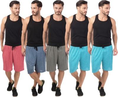 Meebaw Self Design Men,s Red, Dark Blue, Grey, Blue, Blue Sports Shorts