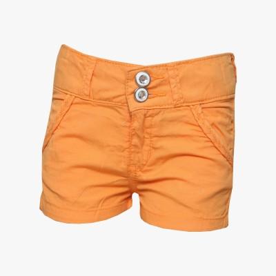 Tales & Stories Solid Baby Girl,s Denim Orange Basic Shorts