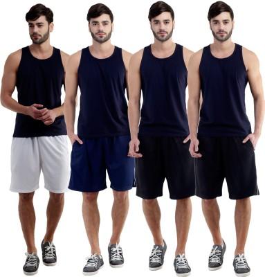 Dee Mannequin Self Design Men's White, Dark Blue, Black, Black Sports Shorts