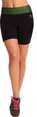 PrettySecrets Solid Women's Black Sports Shorts, Running Shorts, Gym Shorts at flipkart