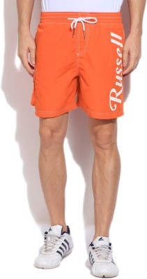 Russell Athletic Solid Men's Orange Sports Shorts