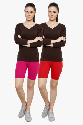 Softrose Solid Women's Pink, Red Cycling Shorts