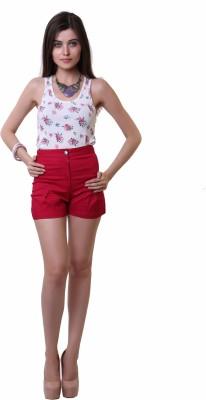 Belle Fille Solid Women,s Red Basic Shorts