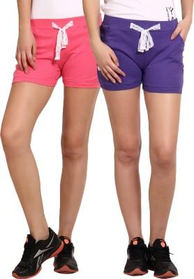 Yogaandsportswear Solid Women's Pink, Purple Basic Shorts