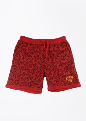 Superman Printed Boy's Red Basic Shorts