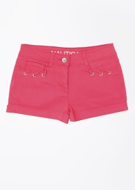 Nautica Short For Girls Solid Cotton Polyester Blend(Pink)