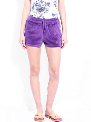 Dressberry Solid Women's Purple Beach Shorts