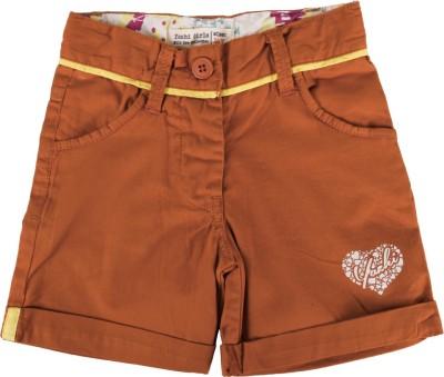 Yazhi Solid Girl's Brown Basic Shorts