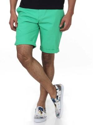 Shapes Solid Men's Green Chino Shorts