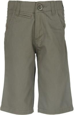 Silver Streak Solid Boy,s Green Basic Shorts