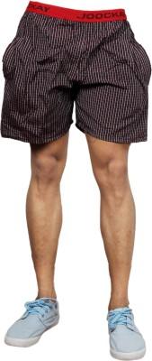 UNO COTTON Checkered Men's Maroon Night Shorts