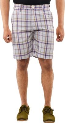 Blue Wave Checkered Men's White Basic Shorts