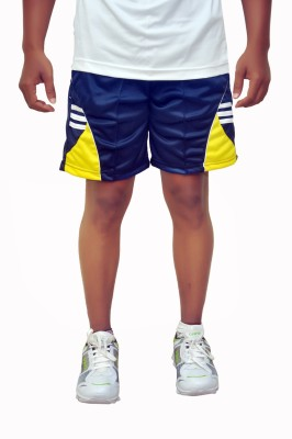 Dyed Colors Striped Men's Blue, Yellow Sports Shorts