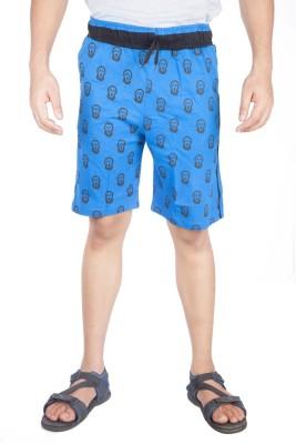 A Flash Graphic Print Men's Blue Sports Shorts