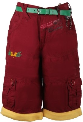 Oil and Grease Solid Boy's Maroon Cargo Shorts