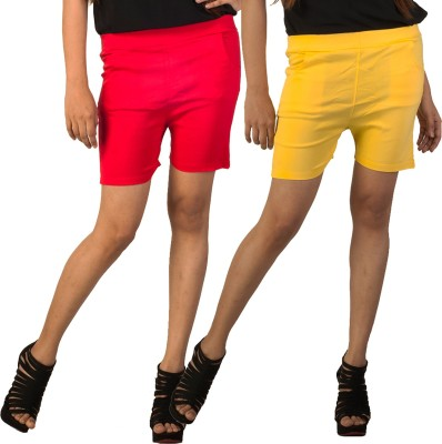 Berries Solid Women's Red, Yellow Hotpants