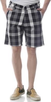 Yuvi Checkered Men's Black, White Bermuda Shorts