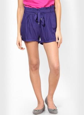 Vero Moda Solid Women's Blue Baggy Shorts