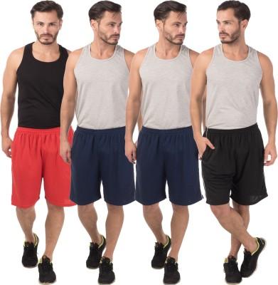 Meebaw Self Design Men,s Red, Dark Blue, Dark Blue, Black Sports Shorts