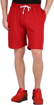 Checker S Bay Solid Men's Red Sports Shorts