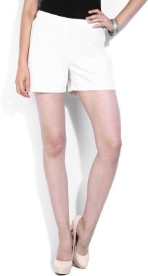 Vanheusen Solid Women's White Basic Shorts at flipkart
