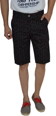 Studio Nexx Printed Men's Black Basic Shorts, Chino Shorts