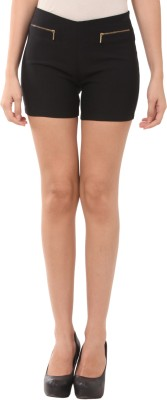 Pretty Angel Solid Women's Black Basic Shorts