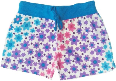 Tomato Floral Print Girl's White, Blue Basic Shorts