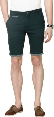 Super-X Solid Men's Dark Green Chino Shorts
