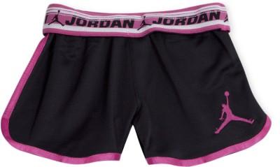 Jordan Kids Solid Girl's Black, Pink Sports Shorts