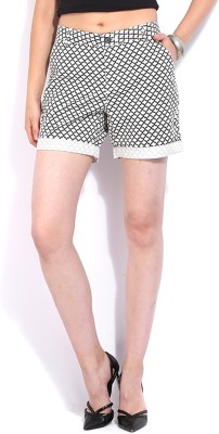 United Colors of Benetton Printed Women's White, Black Basic Shorts at flipkart