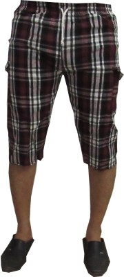 Revinfashions Checkered Men's Maroon Night Shorts