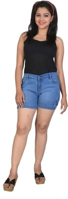 Asmara Solid Women's Denim Blue Denim Shorts